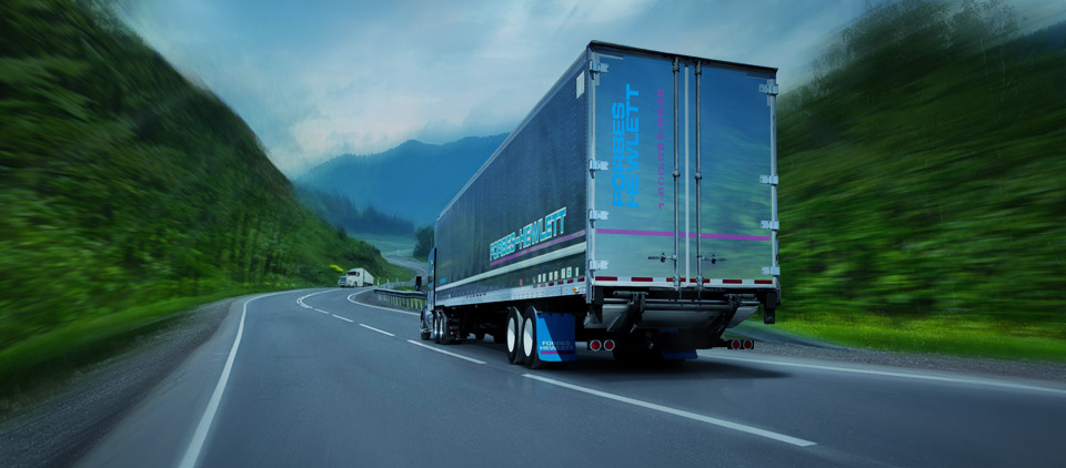 Forbes-Hewlett Transport truck on the road#